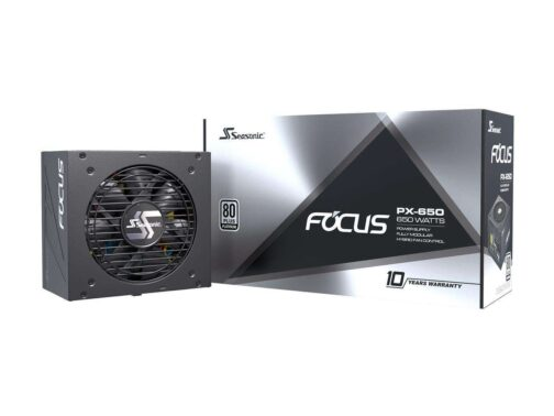 Seasonic FOCUS PX-650 650W 80+ Platinum Full-Modular Fan Control in Fanless Silent and Cooling Mode 10 Year Warranty Perfect Power Supply for Gaming and Various Application SSR-650PX.