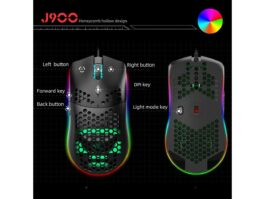 TROPRO Programmable RGB Gaming Mouse 6 DPI (1000/1600/2400/3200/4800/6400) 96g Ultra Lightweight Honeycomb Optical LED Wired Mouse with Programmable 6 Keys RGB Marquee Effect Light